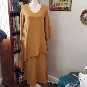 Cynthia Ashby Dress Mustard Yellow Size S